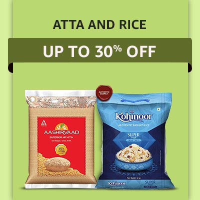 Offers on Daily Essentials Rice and Atta get discount upto 30% off