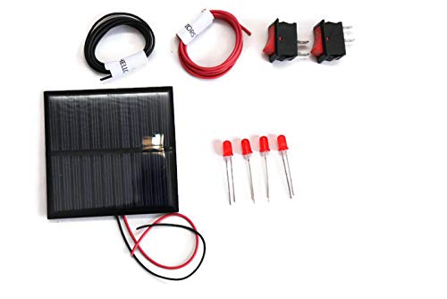 Electronicspices 6v-100 Mah Diy Solar Panel in Square Shape with 4 LED, 2 on/off Switch, 2 Meter Wire (70 x 70 x03 mm)