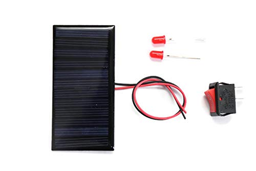 Electronicspices DIY, sOlar Panel 6v -60 Mah, 80×40 X 03 Mm, 2 Leds, 1 on/off, Wire Connect with Solar (Multicolour)