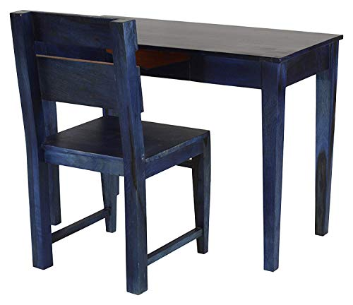 Furnizy Sheesham Wood Writing Study Table for Home and Office with Chair Study Desk (Blue)