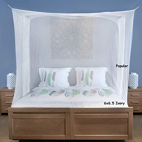 Popular Ivory Mosquito Net Pest Control Double Bed Size Avoid Annoying Insect (King or Queen Size) Ivory /6×6.5