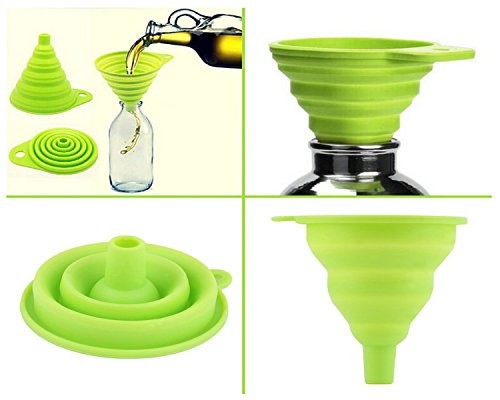 Unique Gadget Collapsible Foldable Silicone Funnel Food Grade Silicone Collapsible Funnel for Liquid Transfer As Oil Water Essential Oil Shampoo Sanitizer Kitchen Tool Gadget - FNNHS23