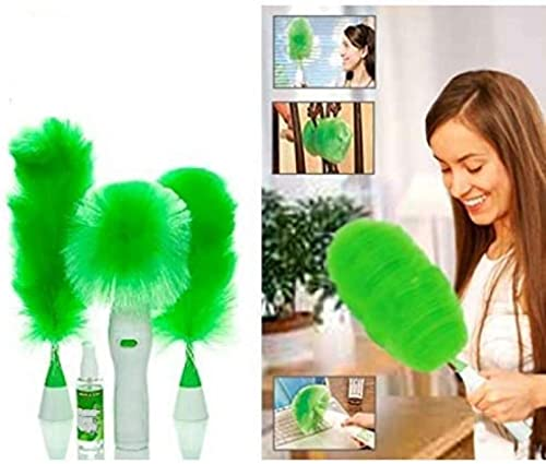 King And Queen Store Electronic Hand Held Spin Duster Brush Set For Home Car Cleaning Green Medium