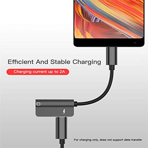 Gadgets Appliances 2-in-1 USB Type C to 3.5mm Audio and Power Adapter w/Charging Port -Black