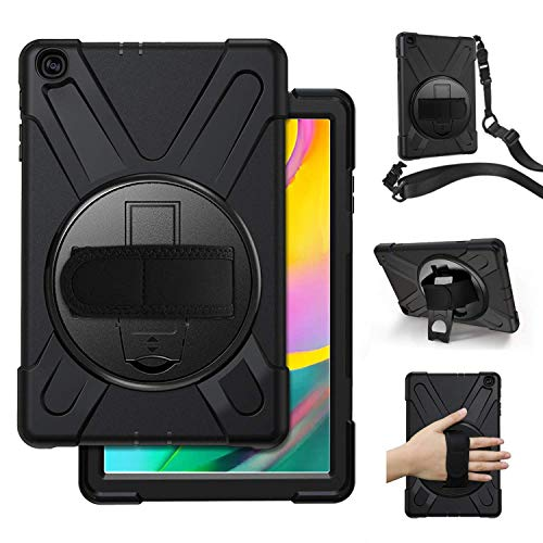 ABOUTTHEFIT Samsung Galaxy Tab A 10.1 2019, SM-T515/T510 Case Cover with Hand Strap, ATF Full-Body Rugged Protective Shockproof with 360 Degree Rotatable Stand -Black