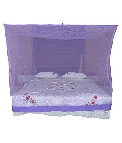 Toydirect Polyester King Size Bed HDPE Mosquito Net, Purple I Baby Mosquito Net for Double Bed/Bedroom/Family/Queen, King Size (6X7 Feet)