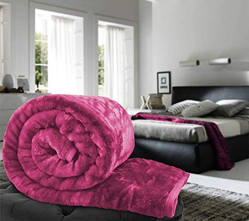 Global Home Microfiber Double Bed Soft Korean Floral Embossed Winter Blanket (220 X 200 cm, Pink)