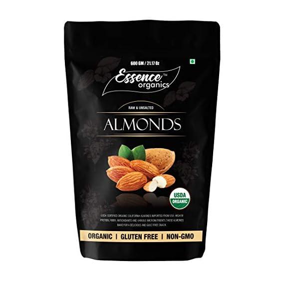 Essence Organics California Almonds (500 Grams) - Organic Almonds Imported from USA