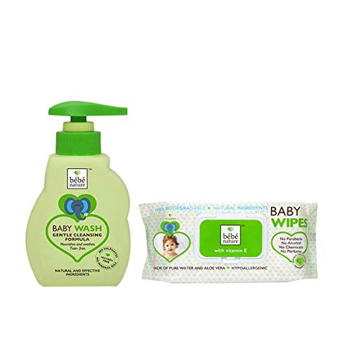 Bebe Nature Tear-Free Natural Baby Wash with Biodegredable Baby Wet Wipes Combo (Pack of 2)