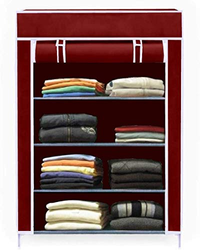 Keekos Collapsible Wardrobe Organizer, Storage Rack for Kids and Women, Clothes Cabinet, Bedroom Organiser with 4 Layer Maroon