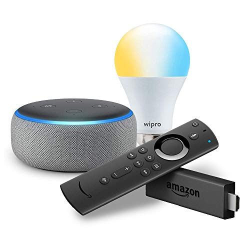 Echo Dot (Grey) bundle with Fire TV Stick and Wipro 9W smart white bulb
