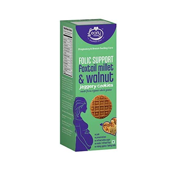 Early Foods Organic Walnut Foxtail Millet Cookies, Healthy Pregnancy & Breast-Feeding Snack 150g