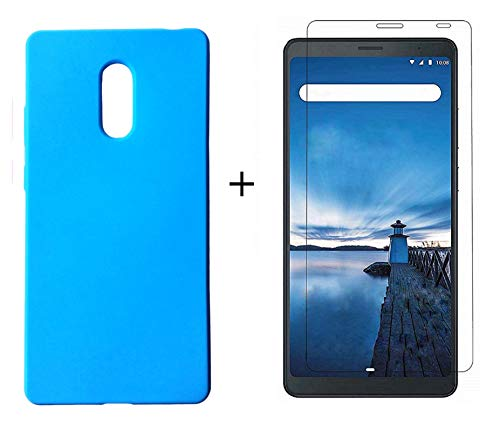 KANICT Matte Soft Rubbersied Back Case Cover + Tempered Glass Screen Protector for Lenovo Tab V7 Tablet (6.9 inch) (Sky Blue)