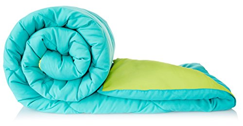 Amazon Brand – Solimo Microfiber Reversible Comforter, Single (Aqua Blue & Olive Green, 200 GSM)
