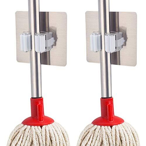 Adtala Self Adhesive Mop Holder, Irich Wall Mount Storage Organizer Racks, No Drilling Tools Hook for Kitchen Bathroom Rakes Closet Home Garden Garage (9 x 9 cm, Multicolour) -2 Pieces Price & Reviews