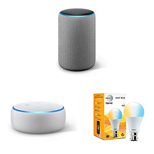 Echo Plus (Grey) bundle with Echo Dot (White) and Wipro white smart bulb