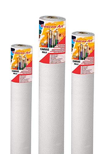 Eascan Art Painting Drawing and Sketch Accessories Cotton Primed Painting Canvas Roll 10 oz (12″ x 5Mtr_White)