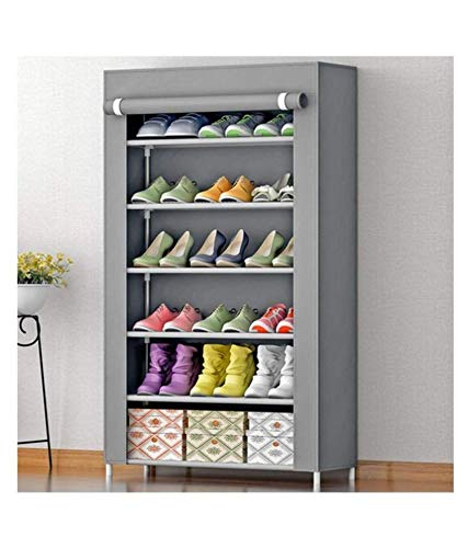 Zemic 6 Layer Multipurpose Portable Folding Shoes Rack/Shoes Shelf/Shoes Cabinet with Wardrobe Cover, Easy Installation Stand for Shoes(Shoes Rack)(Shoes Rack, Shoes Racks for Home)_6 Layer Grey
