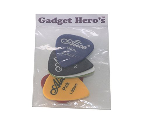 Gadget Hero's Alice 5 pcs Guitar Plectrums/Pick Of 0.96mm Thickness. Assorted Colors.