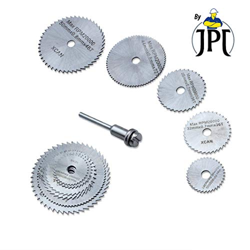 JPT 5pc 1/8″ Shank High Speed Steel HSS Saw Disc Wheel Cutting Blades with Mandrels for Dremel Fordom Drills Rotary Tools