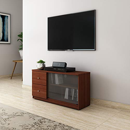 Amazon Brand – Solimo Cygnus TV Cabinet Engineered Wood with Drawers (Sienna Cherry)