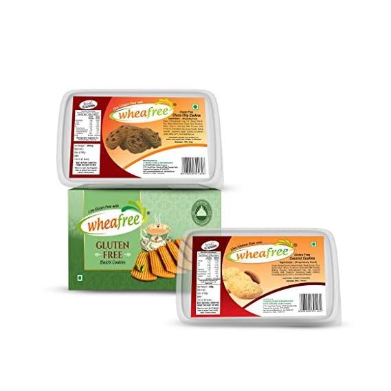 Wheafree Gluten Free Cookies Combo (600 gm) (Elaichi,Coconut,Chocochip) (3*200gm Each) Certified Gluten Free