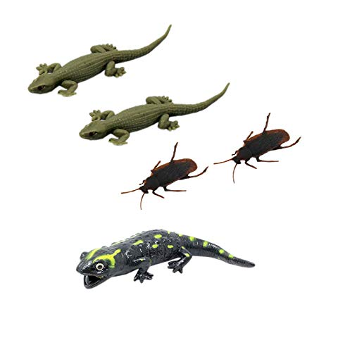 Tootpado Real Looking House Gecko Rubber Lizard Toy, Cockroach and Salamander – (Pack of 5)
