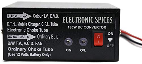 Electronicspices 100 W Converter for Home, Car, Boat, Solar Panel, Color TV , Dth Box, Mobile Charger, CFL