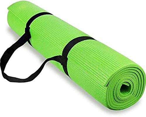 Yoga and Exercise mat of 4.5mm (Parrot Green) Dotted Design with Yoga Mat Strap 4.5 mm Yoga Mat 100% Eco Friendly
