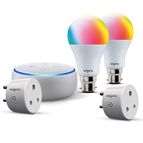Smart living-room bundle: 1 Echo Dot (White) + 2 Wipro 9W color bulb (pin type socket) + 1 Wipro 6A smart plug (for small appliances) + 1 Wipro 16A smart plug (Geyser control)