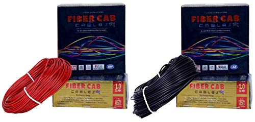 DMTTM Fiber-Cab PVC Insulated Wire 1.0 SQ/MM { 45 Meter} Single Core Flexible Copper Cables for Domestic/Industrial Electric | Electric Wire | |(45 Meter) || (Pack of -2) (Red and Black)
