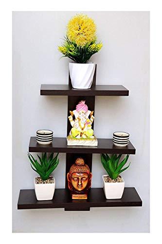 Amazing Shoppee Wall Shelves Shelf for Living Room Book Shelfs (3 Shelves) (Standard, Brown)