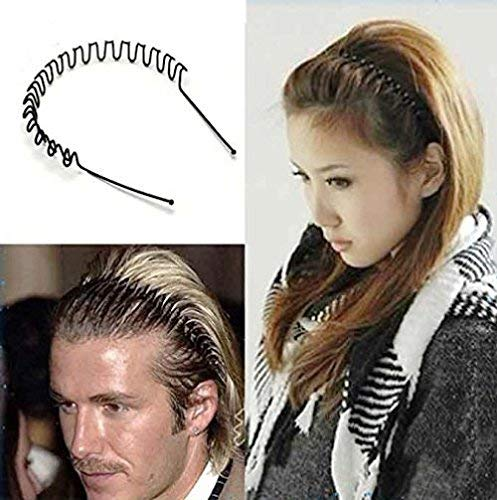 KYT Premium Quality (Hair Band Pack of 2) for Men and Women Daily Use Black Spring Zigzag Wave Metal Hair Hoop Band Unisex Sports Headband Accessories Hair Band (Black)
