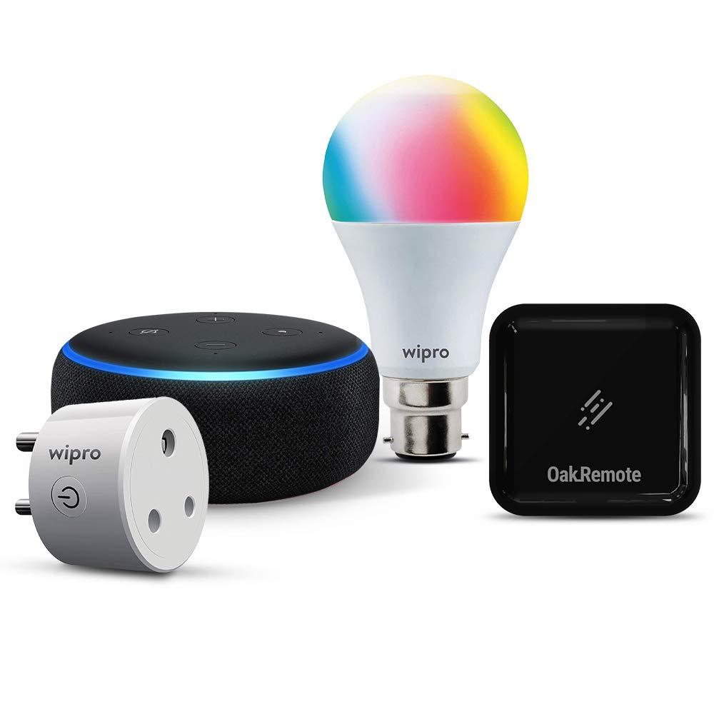 Smart bedroom bundle: 1 Echo Dot (Black) + 1 Wipro 9W color bulb (Pin type socket) + 1 Wipro 16A smart plug (Geyser control) + 1 Oakter universal remote (AC control)