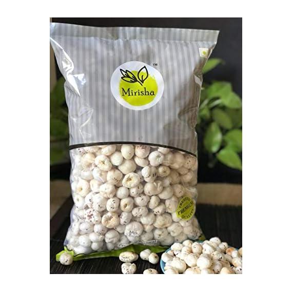 Mirisha 250G X 2 Regular Lotus Seeds Pop /Gorgon Nut Puffed Kernel (Makhana) 500 Gm Pack of 2 Grade - Big Size