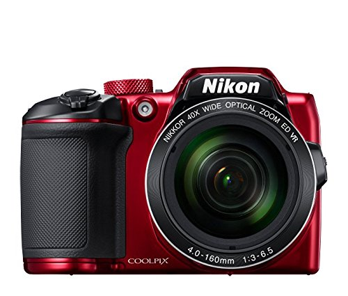 Nikon Coolpix B500 16MP Point and Shoot Camera with 40xOptical Zoom (Red) with HDMI cable + 16 GB SD card + Carry Case.