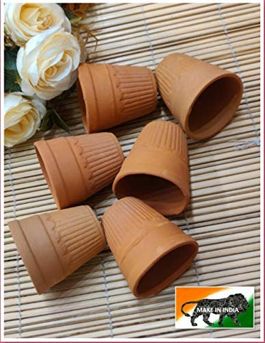 Satyam Kraft 6 Pcs Clay terracotta Chai Glass Traditional cutting chai glass -Small ( 100 ML ) -(Disposable) ( Pack of 6 ) / tea cup / tea cups set of 6 Made in India handmade mitti tea glass ( DISPOSABLE )