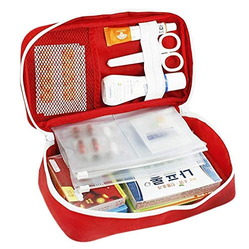 Orpio Polyester First Aid Medicine Storage Bag (Grey and Red)