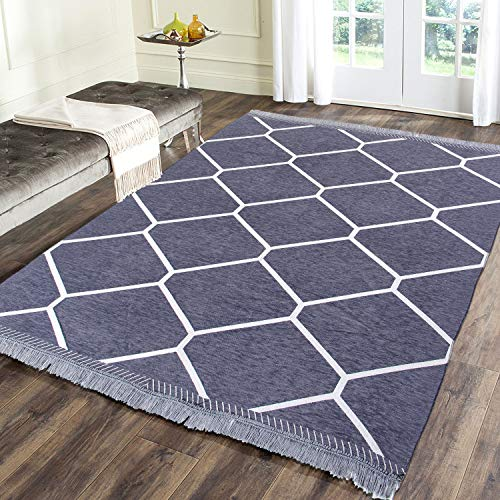 Zesture chennile Living Room Carpet,Area Rug,durries- 4.5 ft x 6 feet (Grey)