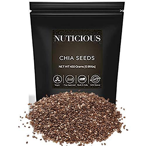 NUTICIOUS All Natural Organic/Premium Raw Chia Seeds for Weight Loss/Omega 3-450 Gm (Gourmet Vegan Food Premium Quality)
