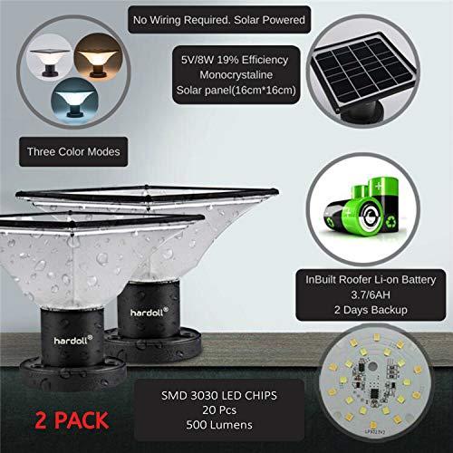 Hardoll Solar Lights for Outdoor Home Garden 20 LED Waterproof Pillar Wall Gate Pillar Lamp(Multiple Color, Pack of 2)