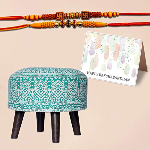 "Nestroots Stool with 2 rakhi & 1 Greeting card gift for him her for Living Room sitting printed ottoman upholstered foam cushioned pouffe puffy for foot rest home furniture with 4 wooden legs Cotton Canvas (""14″inch Height Green)"