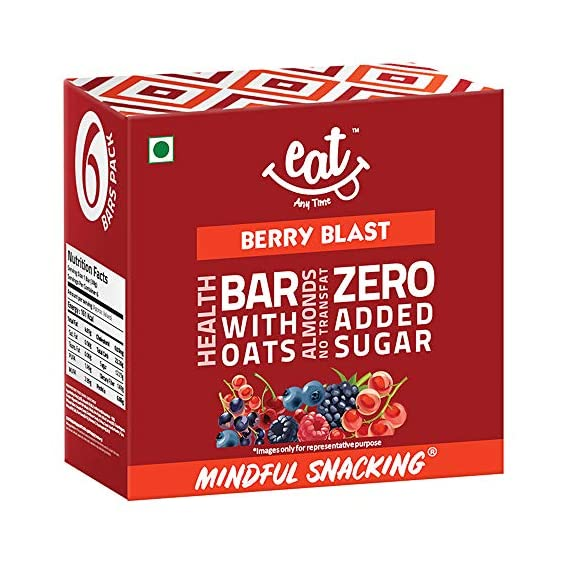 Eat Anytime Crunchy Granola and Cereal Bars, Berry Blast - Cranberry, Almonds, Quinoa, Oats - 228g (Pack of 6)