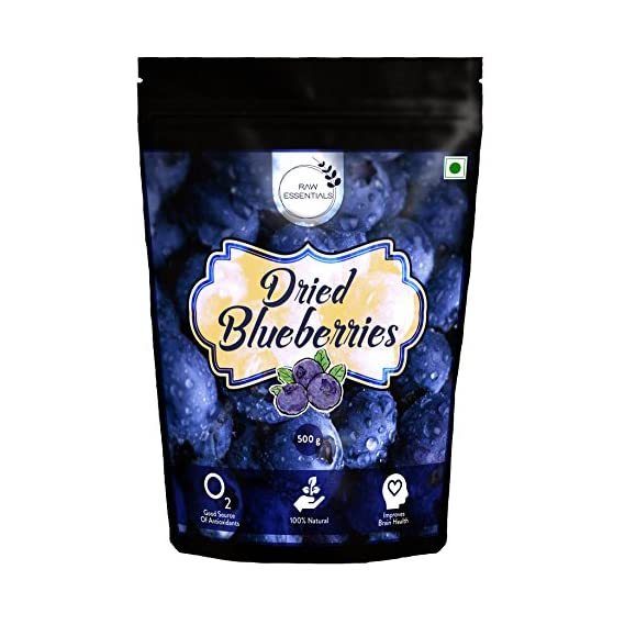 Raw Essentials Whole Dried Blueberries, 500 g [Unsulphured, Unsweetened]