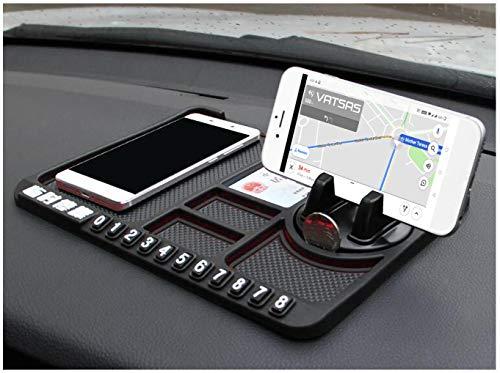 Vatsas Anti Slip Car Dashboard Mat Cum Mobile Phone Holder Mount – Universal Interior Accessories – Non Slip Sticky Rubber Pad for Smartphone GPS Navigation, God Idols, Toys, Coins – Black