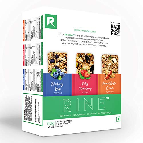Rine Nutrition Bars  Sugarfree Energy Bar 6 Assorted Granola Bars  2 Peanut Butter Protein Bars, 2 Blueberry Fruit Bars & 2 Strawberry Cereal Bars   6 *50 g ( 6 Pack Box)
