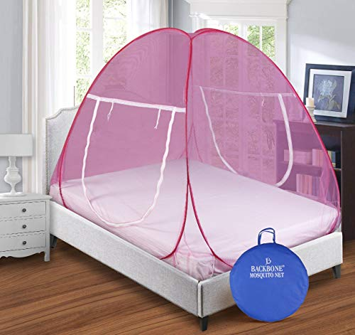 Backbone Mosquito Net Foldable King Size (Double Bed) with Free Saviours – (Pink)