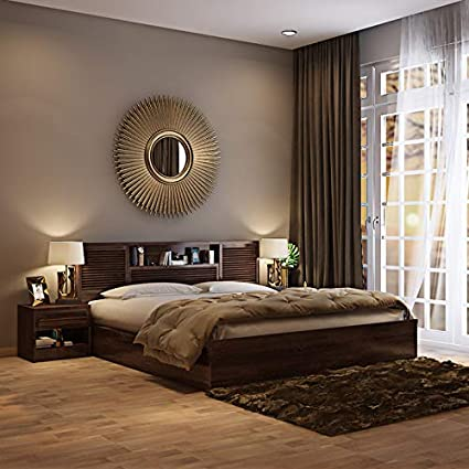 HomeTown Bolton Engineered Wood Box Storage Queen Size Bed in Wenge Colour Bedroom Furniture