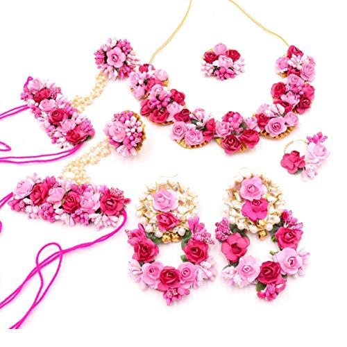 Sarpi Crafts Jewellery Pearl Designer Pink & red Jwellery Set with 7 Items for Women & Girls (Mehandi/Haldi Bridal/Baby Shower)