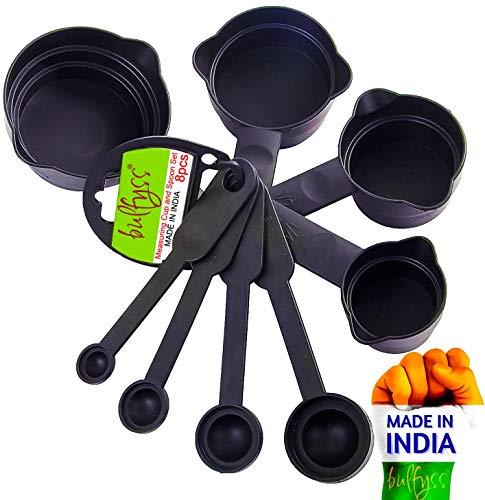 Bulfyss 8pcs Measuring Cup and Spoon Set, Black